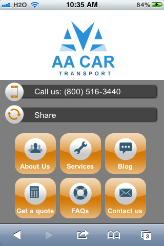 AA Car Transport Mobile Site.